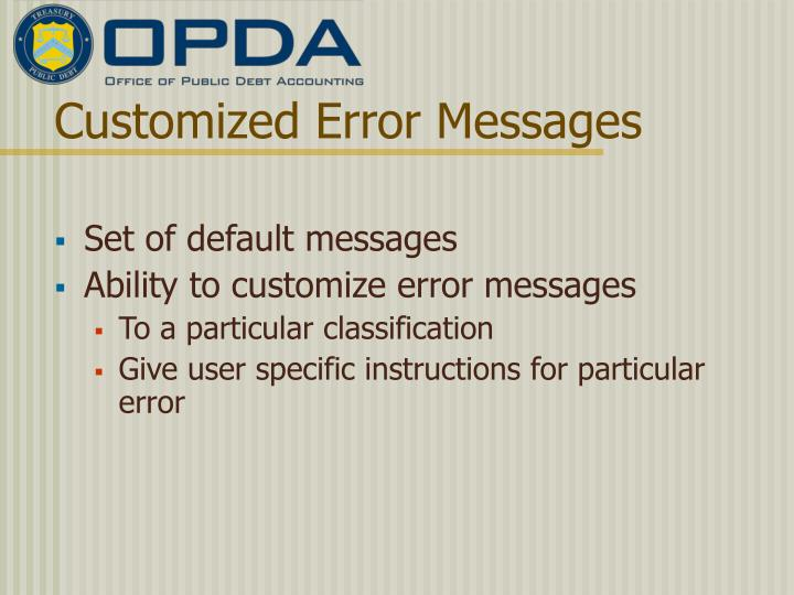 Customized Error Messages
