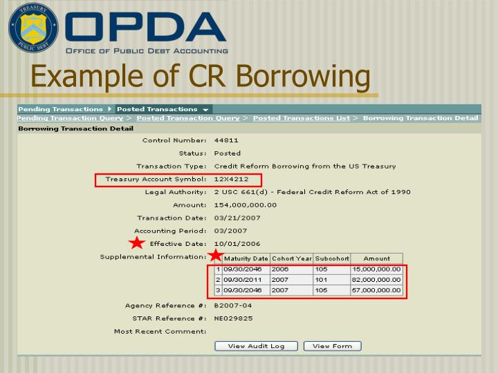 Example of CR Borrowing