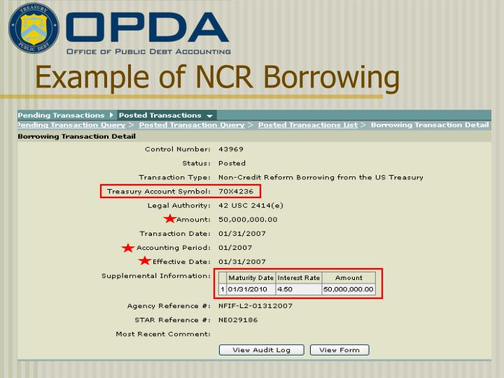 Example of NCR Borrowing