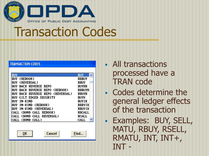 Transaction Codes