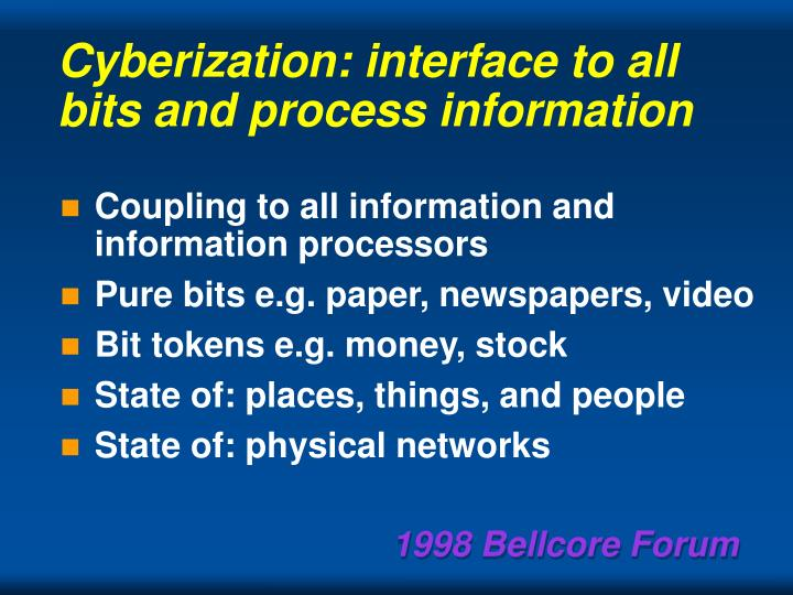 Cyberization: interface to all bits and process information