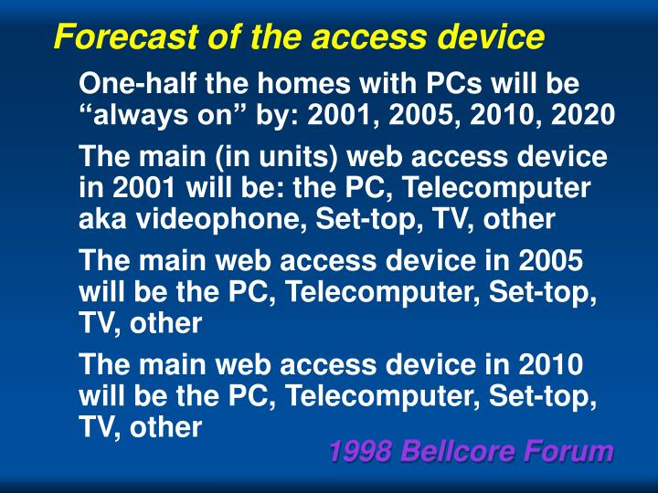 Forecast of the access device