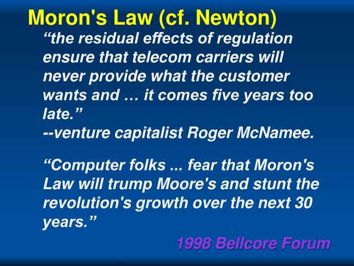 Moron's Law (cf. Newton)