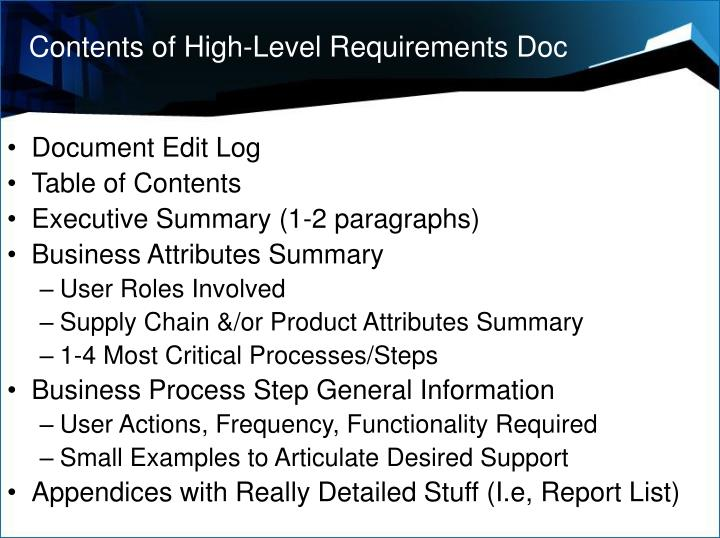 Contents of High-Level Requirements Doc