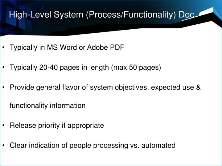 High-Level System (Process/Functionality) Doc