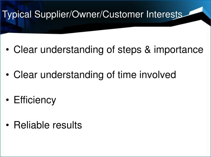 Typical Supplier/Owner/Customer Interests