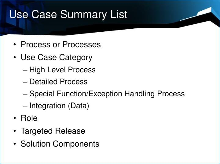 Use Case Summary List