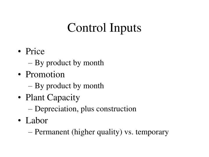 Control Inputs