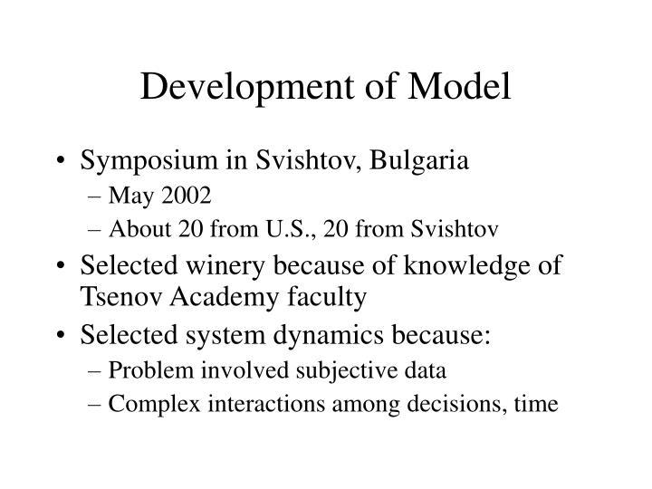 Development of Model