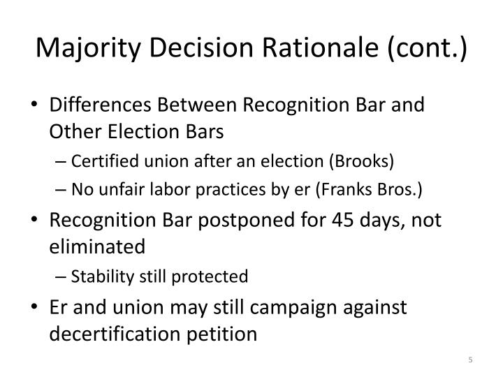 Majority Decision Rationale (cont.)