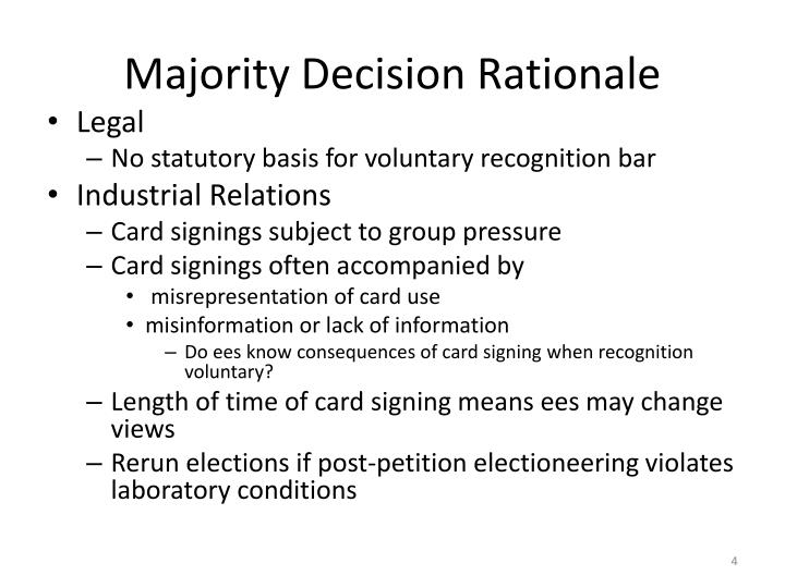 Majority Decision Rationale