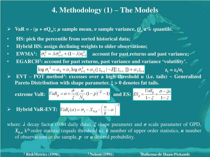4. Methodology (1) – The Models