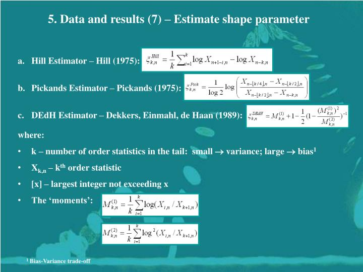 5. Data and results (7) – Estimate shape parameter