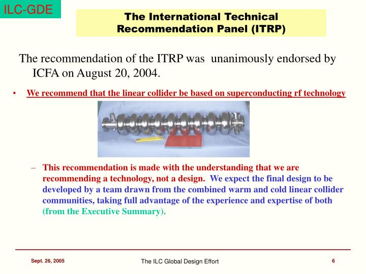The International Technical Recommendation Panel (ITRP)