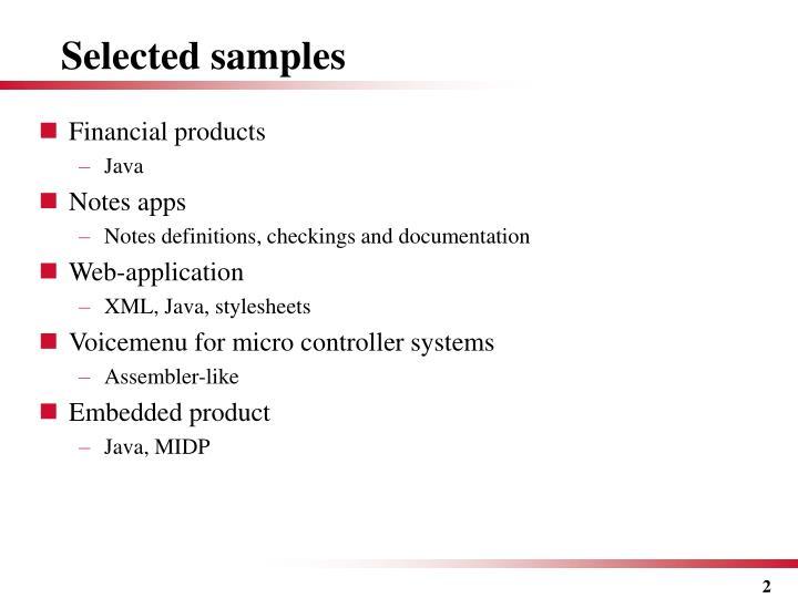 Selected samples