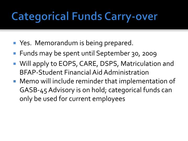 Categorical Funds Carry-over
