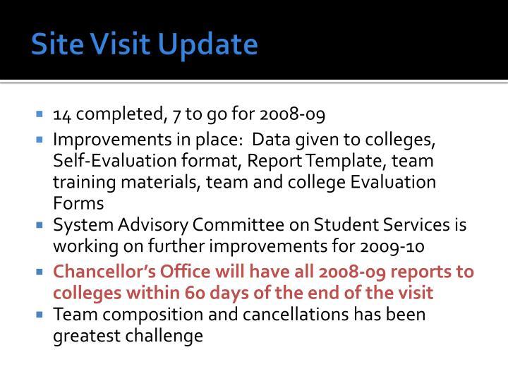 Site Visit Update
