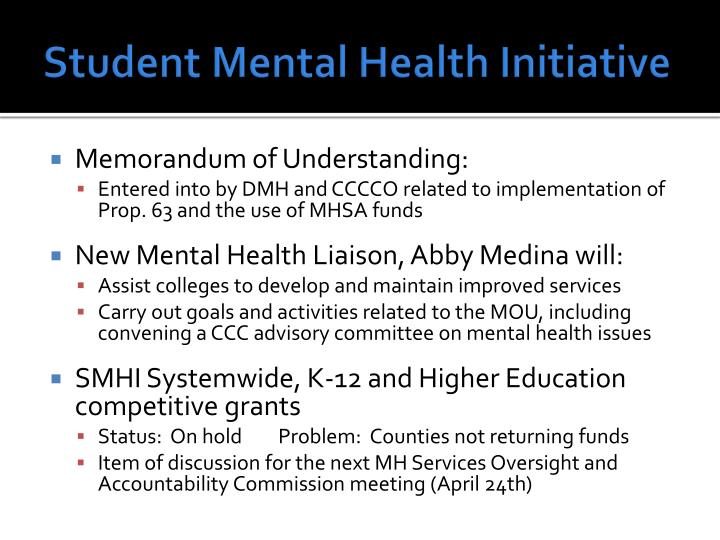 Student Mental Health Initiative