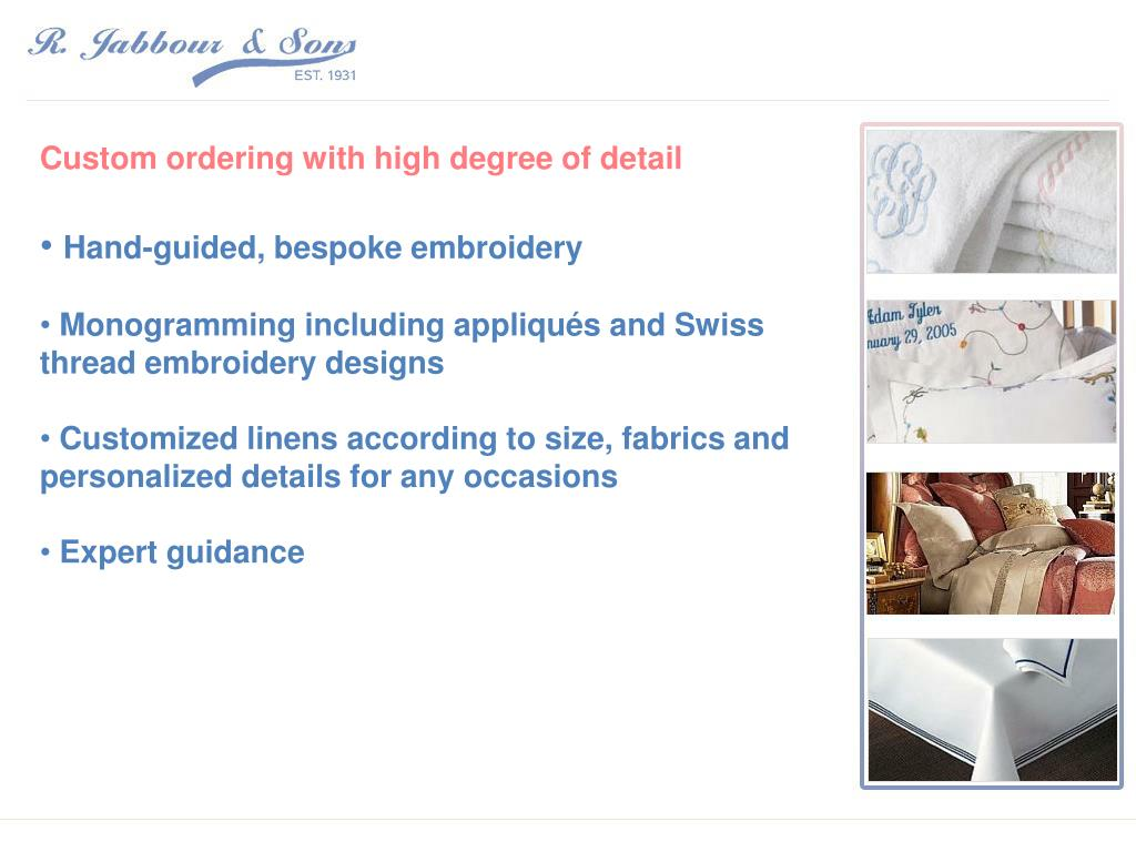 Custom ordering with high degree of detail