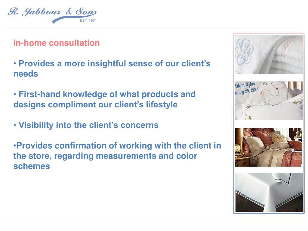 In-home consultation