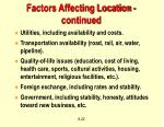 factors affecting location continued