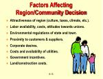 factors affecting region community decision