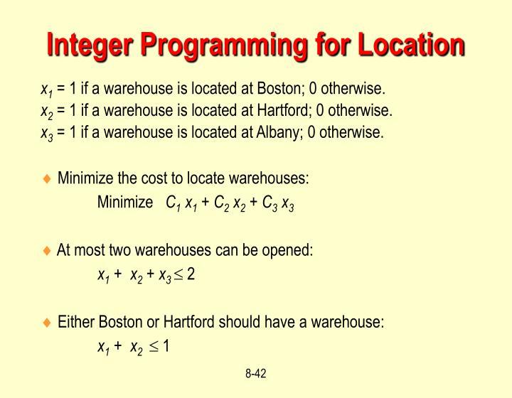 Integer Programming for Location