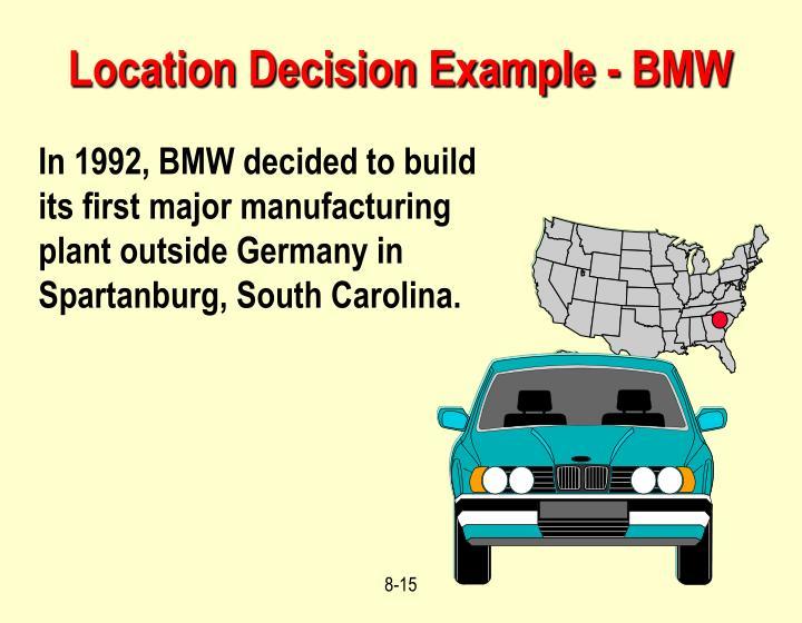 Location Decision Example - BMW