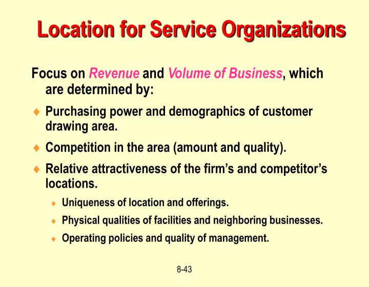 Location for Service Organizations