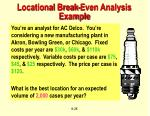 locational break even analysis example