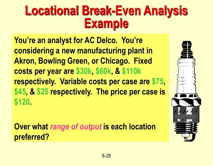 Locational Break-Even Analysis Example