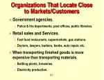 organizations that locate close to markets customers