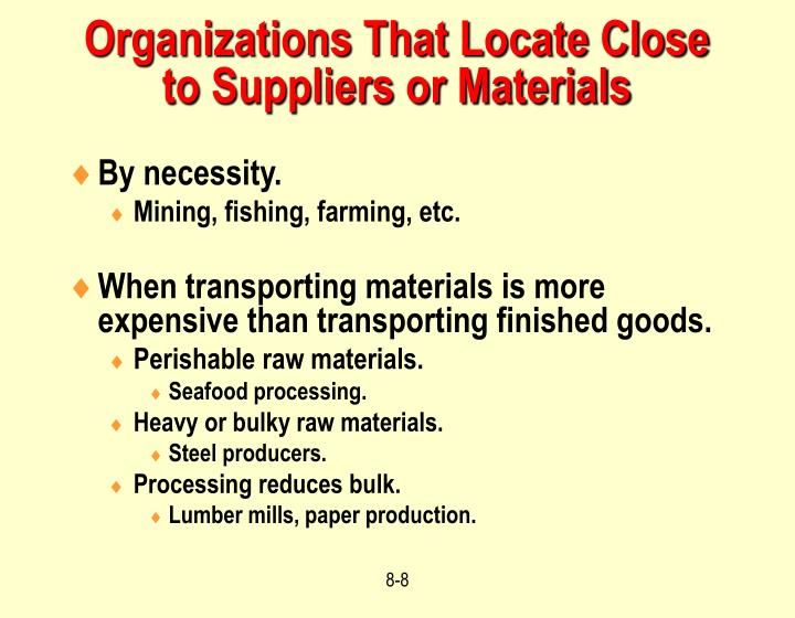 Organizations That Locate Close to Suppliers or Materials
