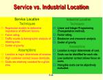 service vs industrial location