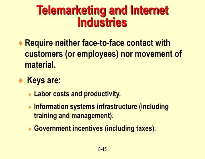 Telemarketing and Internet Industries