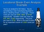 locational break even analysis example