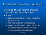 locational break even analysis