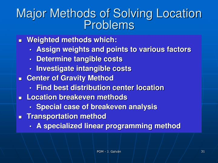 Major Methods of Solving Location Problems