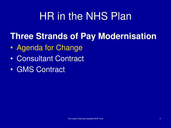Hr in the nhs plan