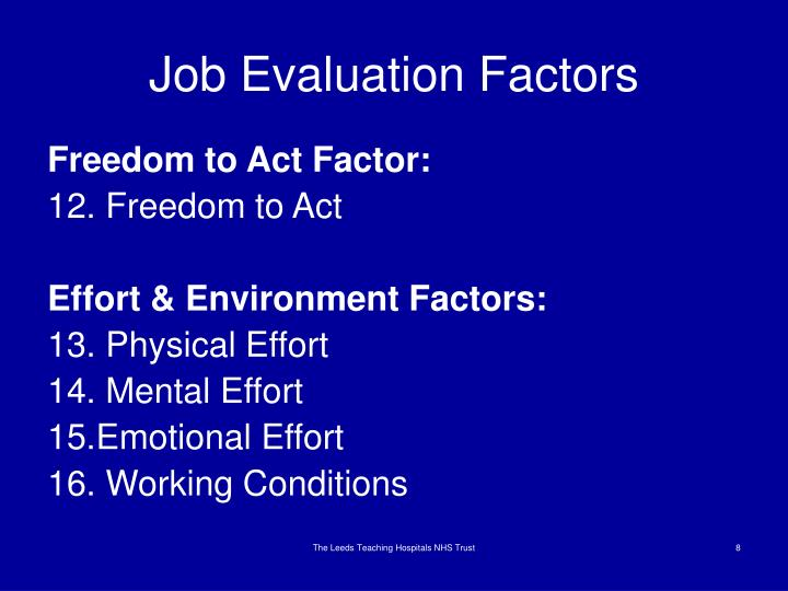 Job Evaluation Factors