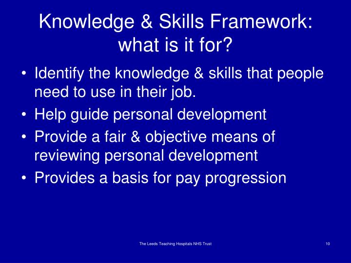 Knowledge & Skills Framework: what is it for?