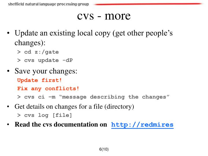 Update an existing local copy (get other people's changes):