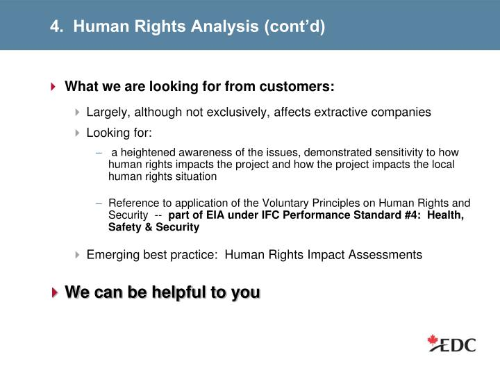 4.  Human Rights Analysis (cont'd)