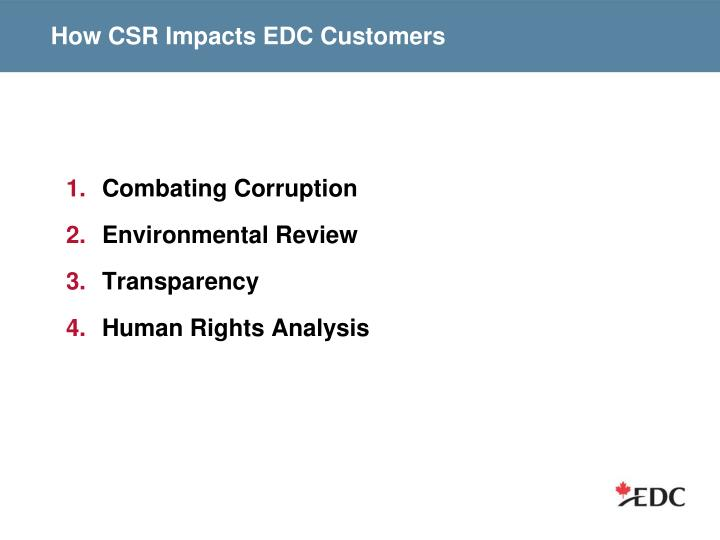How CSR Impacts EDC Customers