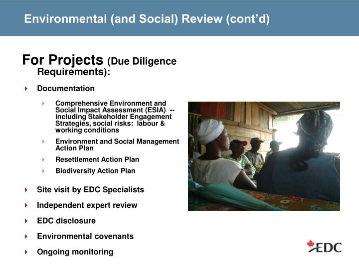 Environmental (and Social) Review (cont'd)