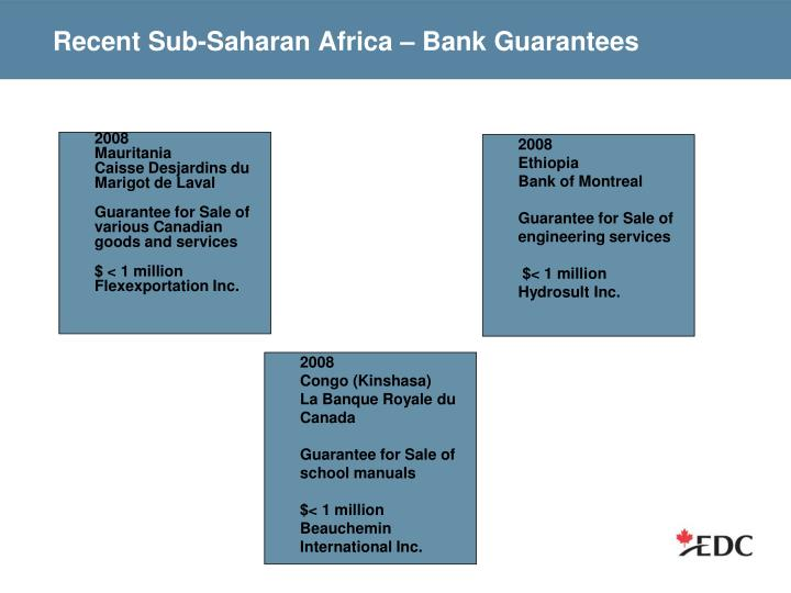 Recent Sub-Saharan Africa – Bank Guarantees
