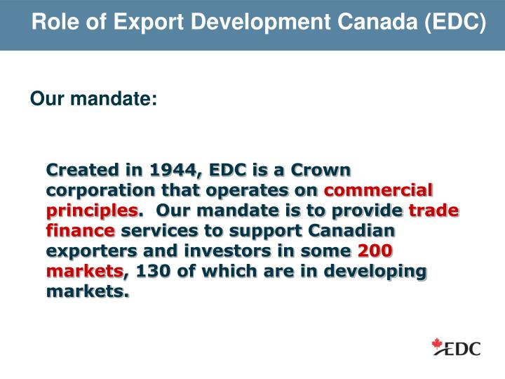 Role of Export Development Canada (EDC)