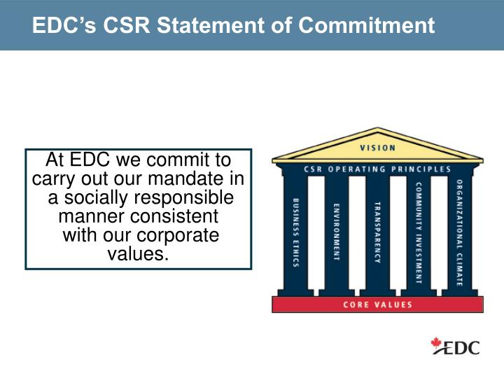 EDC's CSR Statement of Commitment