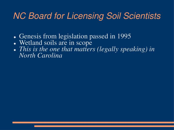 NC Board for Licensing Soil Scientists