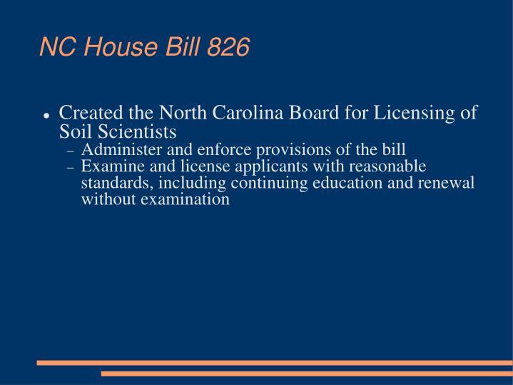 NC House Bill 826